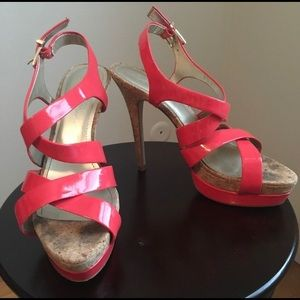 Jessica Simpson coral strappy high heels.